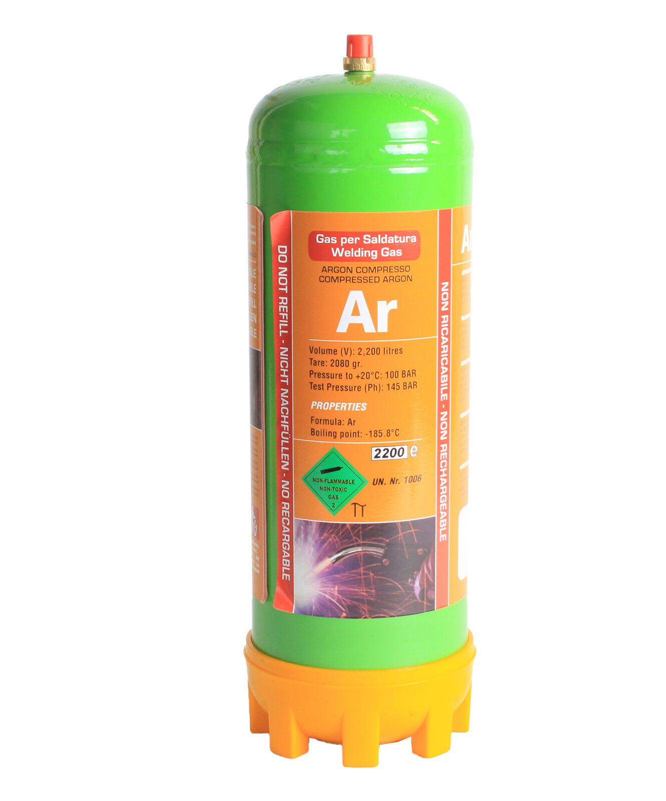 Argon 4.6  Einwegflasche 2 L jetzt 220 Liter Schutzgas
