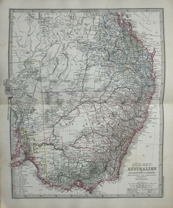 Eastern Australia Queensland New South Wales Victoria 1884 Stieler detailed map