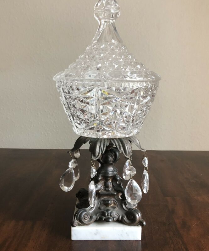 Vintage Crystal Lidded Candy Dish Iron Pedestal And Marble Base