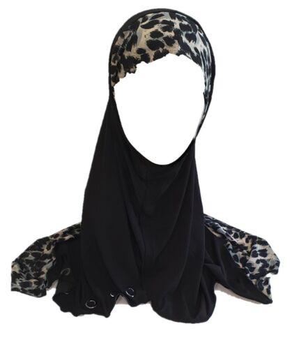 Black One Piece Slip-On Pattren Muslim Hijab Head Wear Cover Scarf Islamic Dress
