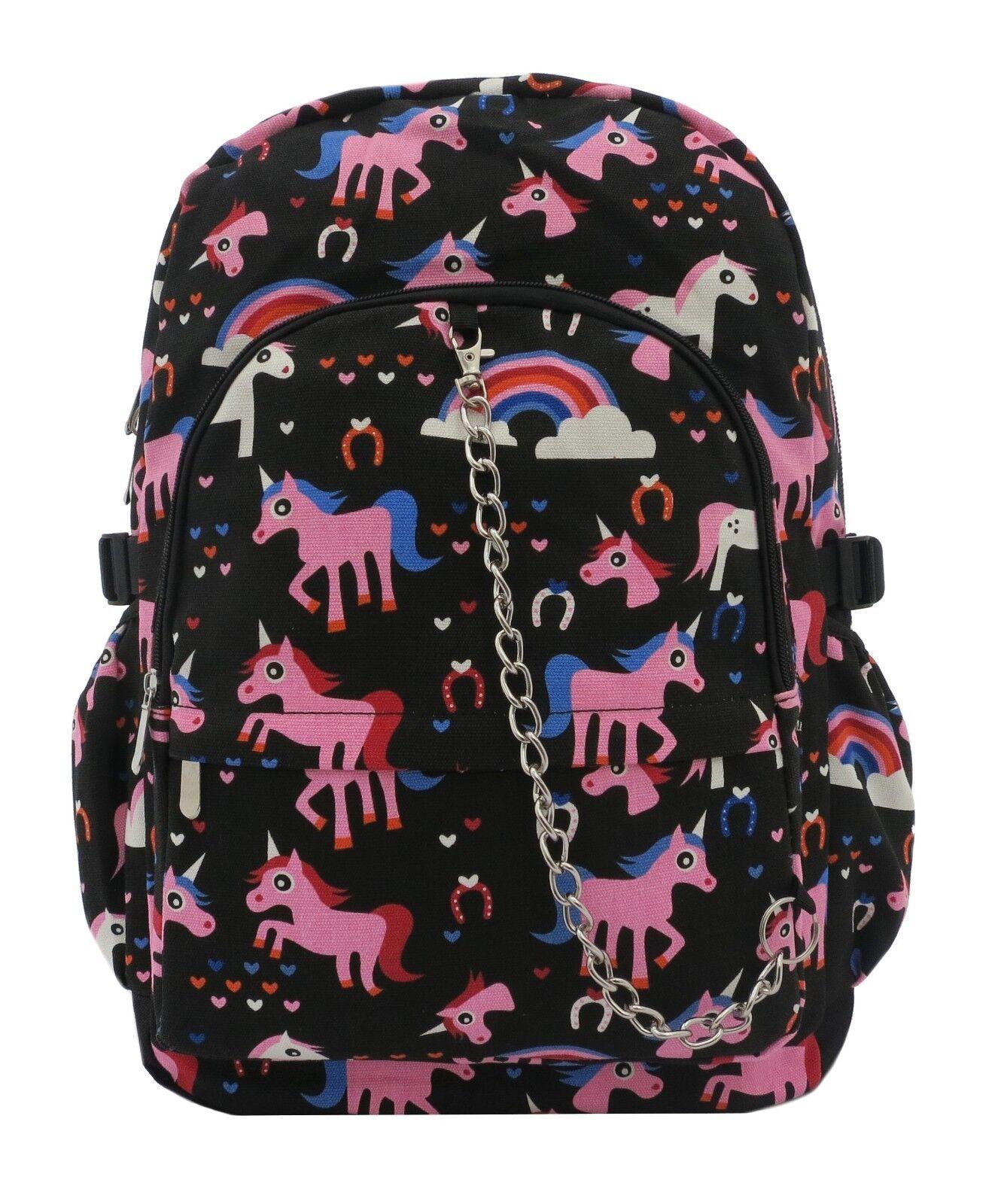 UNICORN Backpack Rucksack Cool Cute School Festival Rainbow Goth Emo Travel Bag