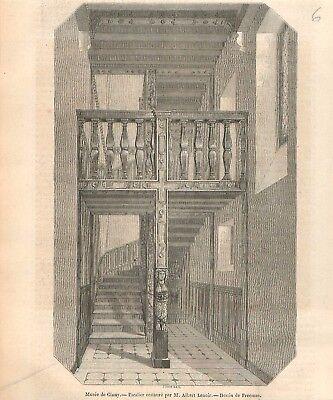 Escalier Bois Ouvragés Musée national du Moyen Âge de Cluny Paris GRAVURE