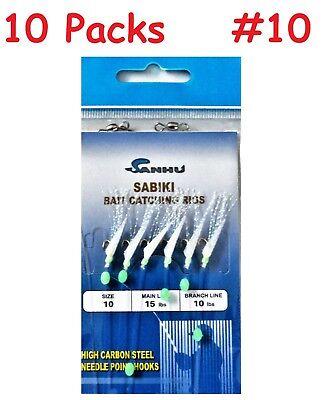 SABIKI 6 HOOK SEA FISHING RIGS with GLOW BEAD /& RED BLEEDING HOOK 5 Packets