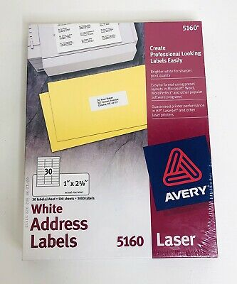 Brand New Avery 5160 White Address Labels 30 Labelssheet 100 Sheets 3000 Labels