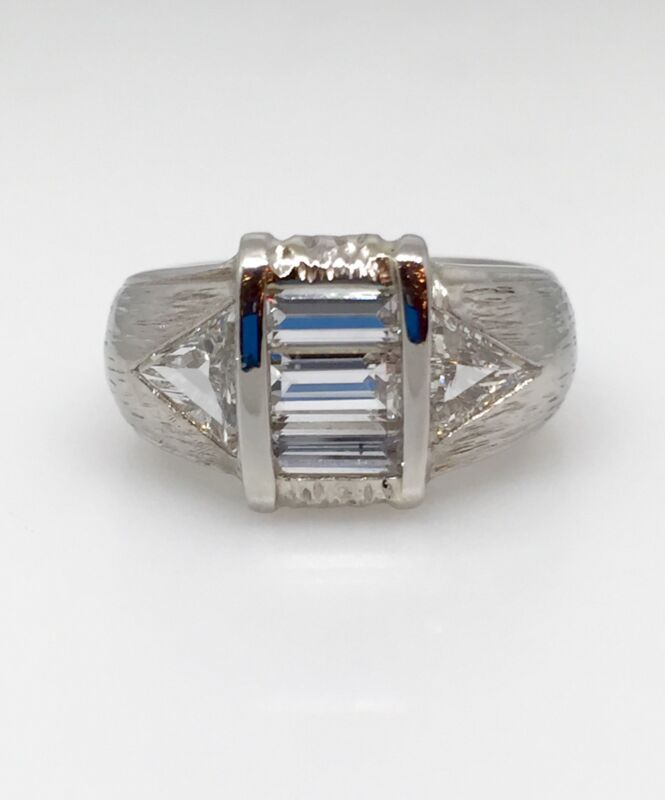 1.65 Ct Wide Textured Diamond Band Ring In Platinum - Hm1221sr