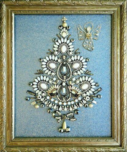 CHRISTMAS TREE FRAMED JEWELRY HOLIDAYS ART GIFT