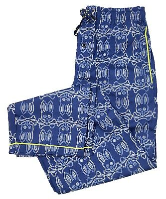Psycho Bunny Men's Galaxy Blue Large Bunny Print Woven Lounge Pajama Pants