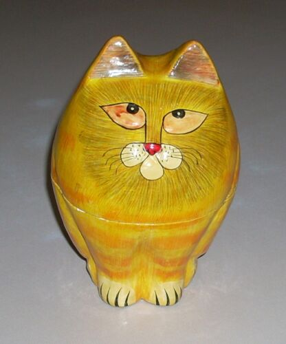 Vintage India Paper Mache Lacquer Ginger Orange Striped Cat Trinket Box
