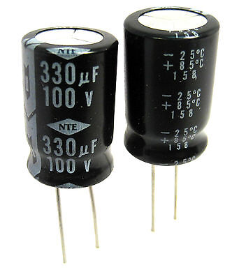 330uf 100v Radial Lead Electrolytic Capacitors 2lot