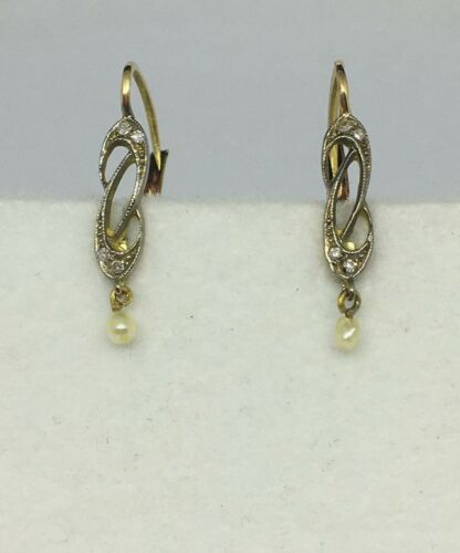 Original Antique 18kt Gold Earrings with Diamonds and Cultured Pearl