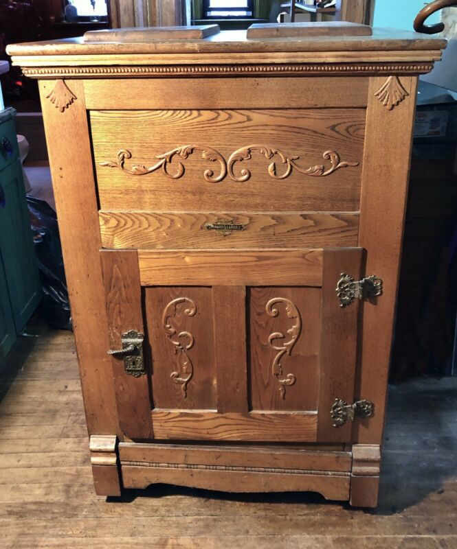 Antique 1800s Large Ice Box Refrigerator Leonard Cleanable