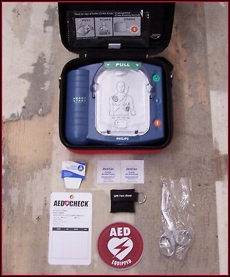 (PHILIPS Onsite Just Installed BATTERY & 2020 PADS AED Defib. M5066A heartstart)