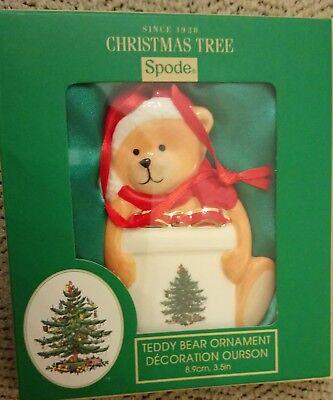 """Spode Teddy Bear Porcelain Christmas Tree Ornament, 3"""" x 3.5"""",Portmeirion Group"""