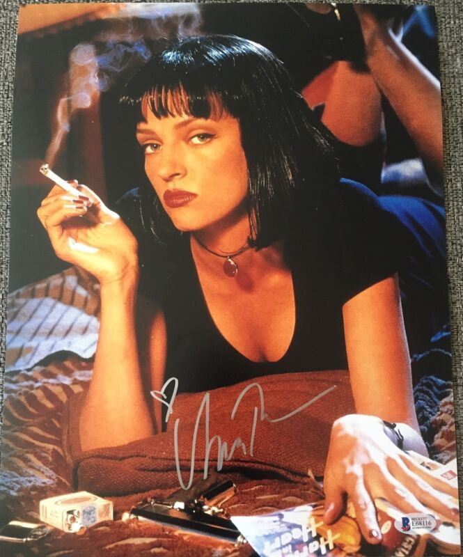 UMA THURMAN SIGNED AUTOGRAPH PULP FICTION CLASSIC POSTER 11x14 PHOTO BECKETT D