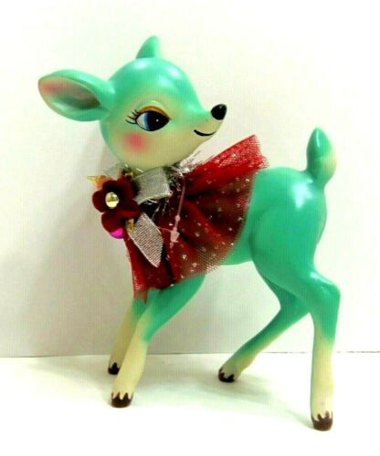 """Fawn Doe Deer Retro Style Red Sparkly Collar & Flowers Figurine Christmas 6.5"""""""