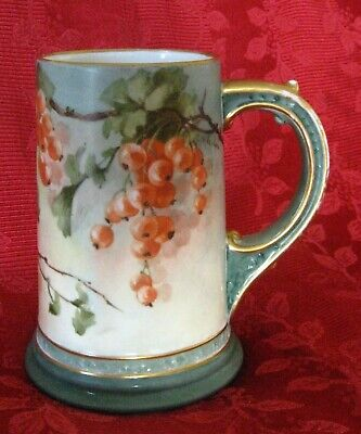 Vintage Limoges Transfer & Hand Painted W.G. & Co. Stein Berries Trimmed w/Gold