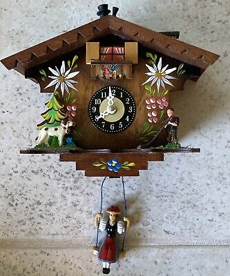Vintage Miniature German Cuckoo Clock Lot Weights Seesaw Wooden Display