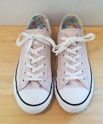 Converse All Star Light Pink Double Tongue Hearts Shoes Youth Size 5 (5Y) Girls