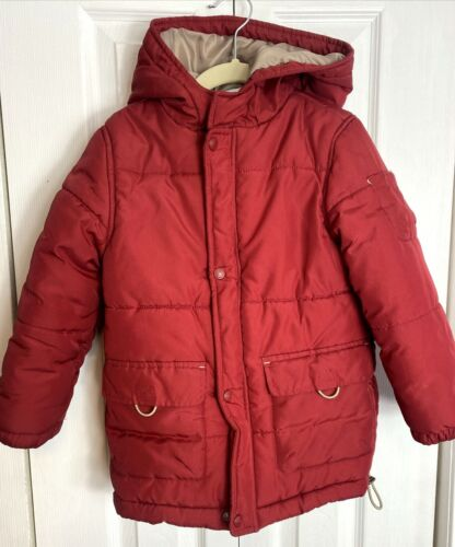 Boys Janie and Jack Puffer Coat Rust Red Size 4T-5T Hood Zip Snap Button