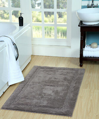 Bath Rug Cotton, 50x30 In, Anti-Skid, Gray, Textured Border, Washable, Regency