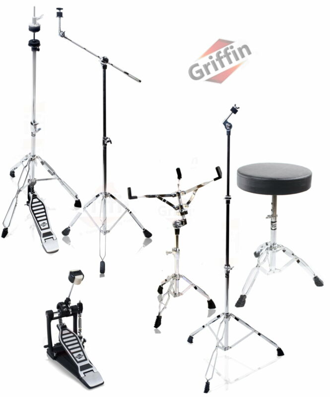 Drum Hardware PACK - GRIFFIN Cymbal Stand Set Snare Hi-Hat Throne Kick Pedal Kit
