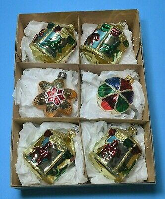 CHRISTMAS VINTAGE MERCURY GLASS BAUBLES SET BRIGHT and GLITTER TRIM GOLD CB52