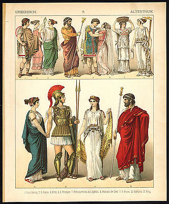 Antique Print-ANCIENT GREECE-KING-PRIEST-WARRIOR-PL. 9-Kretschmer-Rohrbach-1882