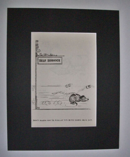 Dog Cartoon Print Norman Thelwell No Self Service Bookplate 1964 8x10 Matted