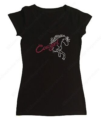 Cowgirl Womens Pink T-shirt (Women's Rhinestone T-Shirt