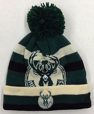 NBA Milwaukee Bucks Adidas Cuffed Pom Winter Knit Cap Hat Beanie Style #KX70Z](Milwaukee Bucks Winter Hat)