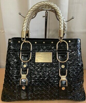 Gianni Versace Couture Black Patent Leather Woven Studded Braided Handle Bag