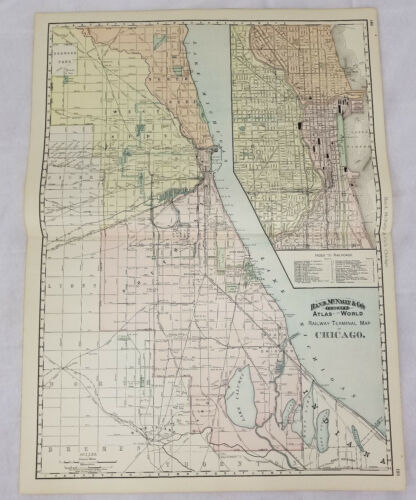 Antique Rand Mcnally & Co Colored Lithograph Map Chigaco Railway Terminal