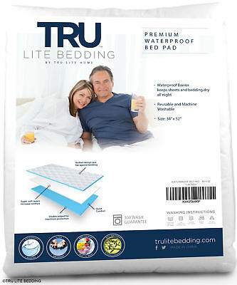"NEW TRU Lite Waterproof Bed Wetting Pad, 34"" x 52"", washable, for incontinence"