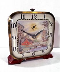 Vintage 1950's Lux Fairview Cabin By River Alarm Clock Nice Graphic LOOK & READ