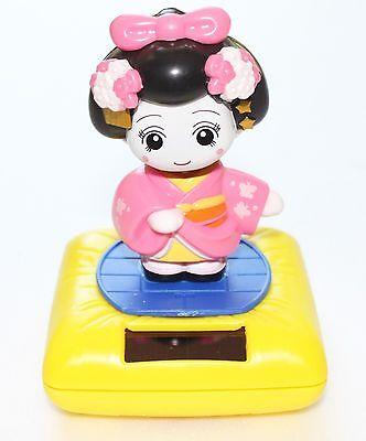 Solar Bobblehead Toy Figure, Maiko - Standing Yellow Geisha