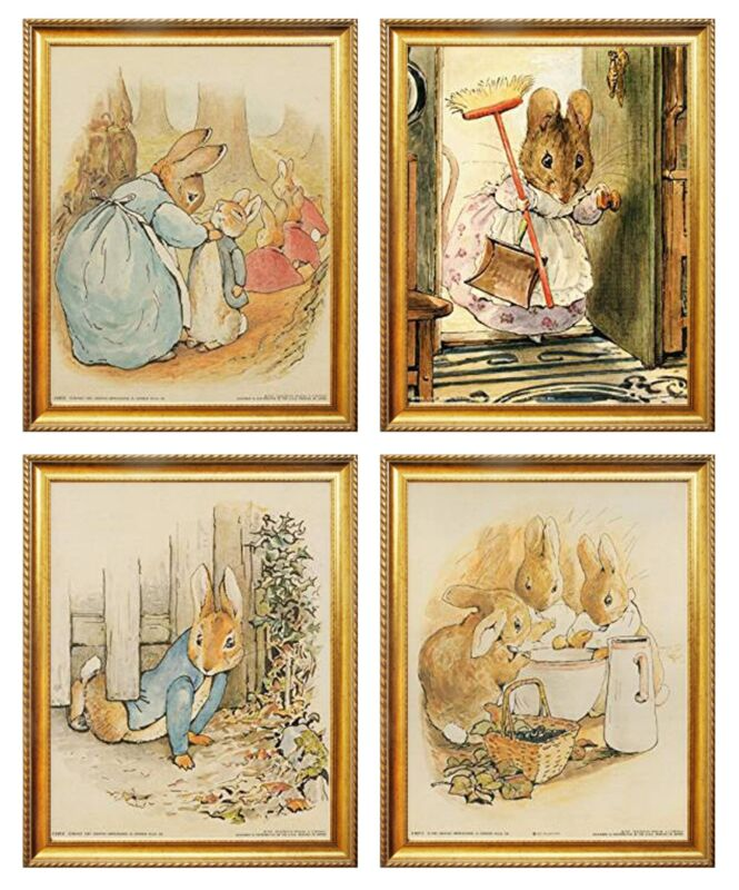 The Tale of Peter Rabbit Beatrix Potter Four Set 8x10 Golden Framed Art Print