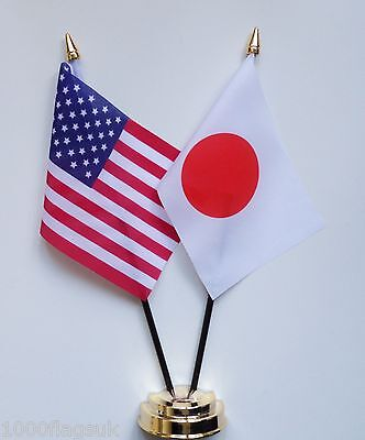 United States of America & Japan Double Friendship Table Flag Set