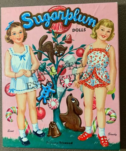 "1957 WHITMAN PUBLISHING ""SUGARPLUM DOLLS"" SCOOT & SANDY 9 1/2"" TEKWOOD DOLLS"
