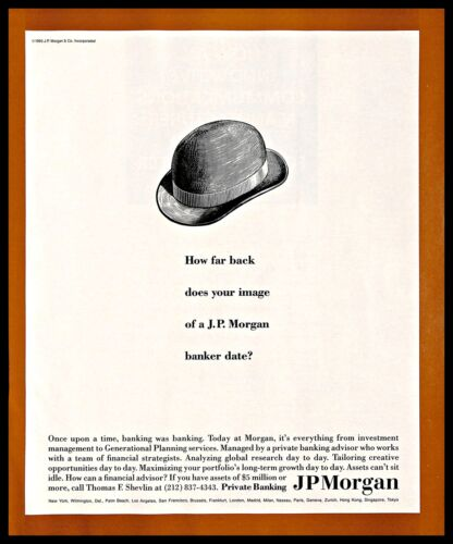 1993 JPMorgan Funds Vintage PRINT AD Investment Banking Financial Services 1990s