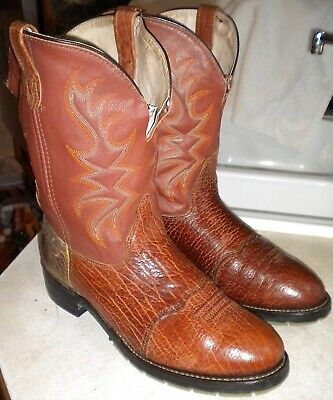 MENS 11 D Brown DOUBLE H # 3587 SADDLE VAMP ROPERS WESTERN WORK BOOTS