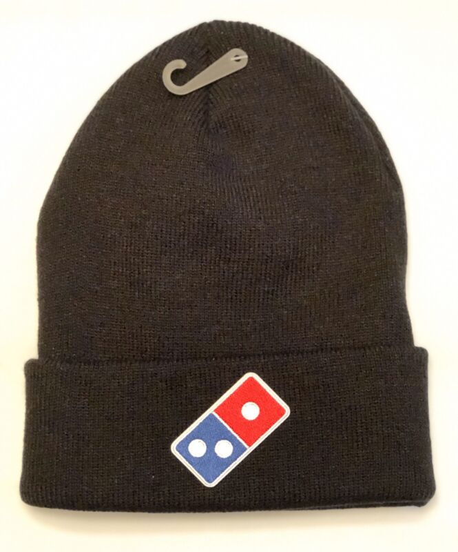 DOMINOS PIZZA Logo Embroidered Patch Style Beanie Toboggan Delivery Black