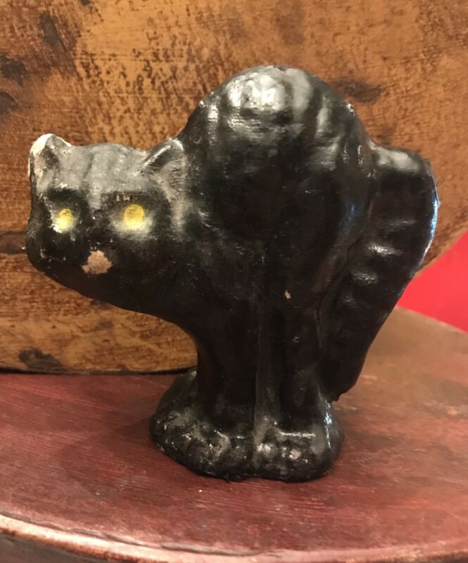 Vintage Halloween Paper Mache Cat Candy Container
