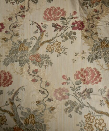 Vintage Indienne Tree of Life Floral Brocade Jacquard  Fabric #2 ~ Rose Green