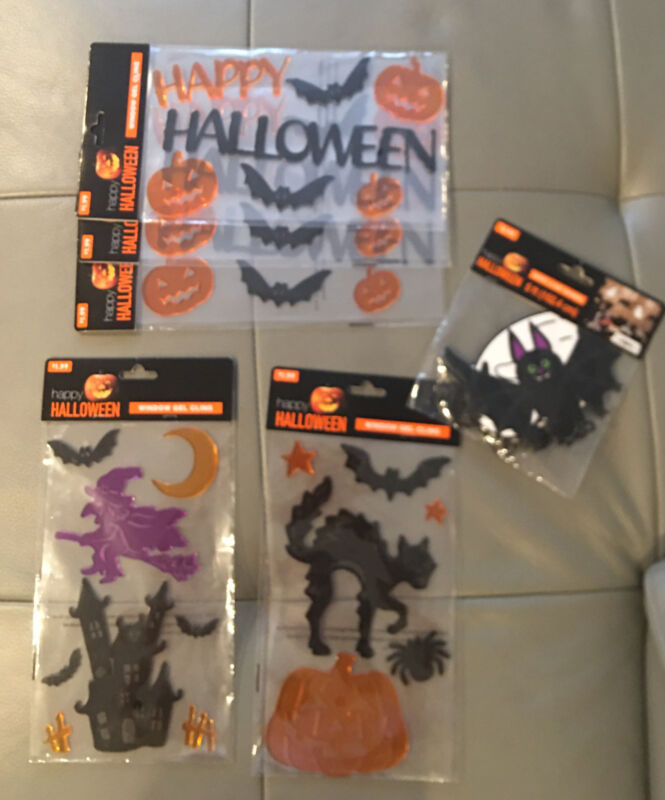 Halloween Window Gel Clings Lot Of 5 And Ghost And Bat Banner