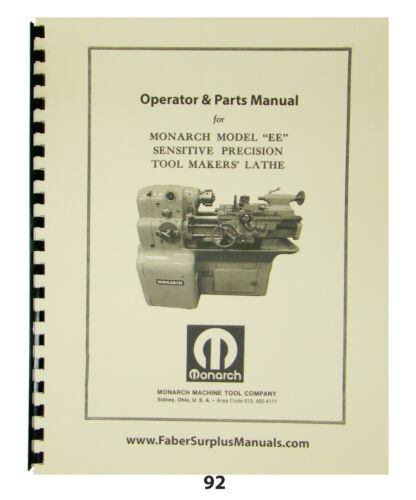 """Monarch 10"""" EE Toolmaker Lathe Early Round Dial Operator, Part, Elect Manual #92"""