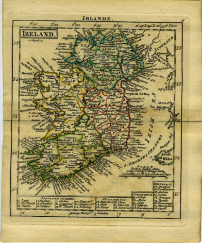 1761 Genuine Antique miniature hand colored map of Ireland, Irlande. by A. Dury