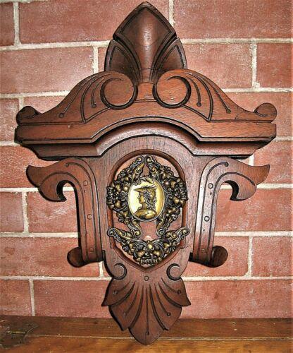 Antique Architectural Carved Wood Pediment Crest Shield &Brass Roman God Mercury