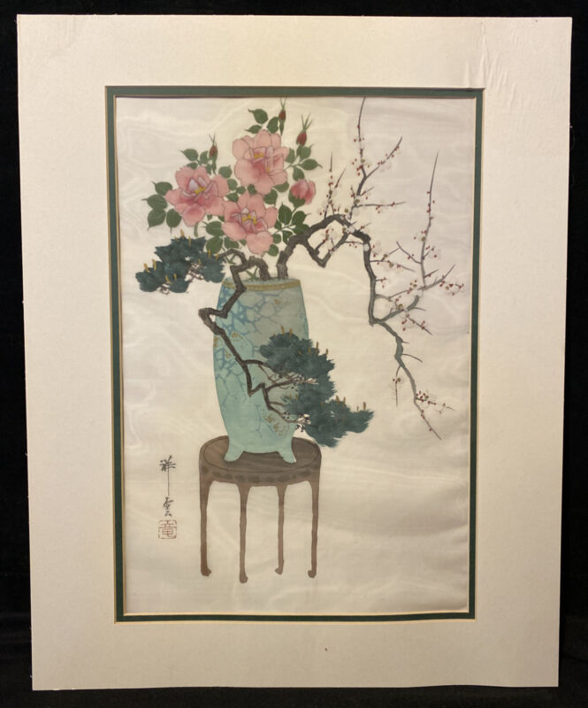 Vintage Original Chinese Ink Painting on Sheer Silk Signed Marked Chop Seal