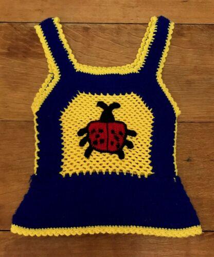 Vintage Sweater Vest Knitted Pullover Girls Sleeveless Ladybug 1970s Sz 8 / 10