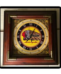 "Rare Large 14"" Indian Motorcycle Wall Clock  Glass Lens,Solid Wood Frame"